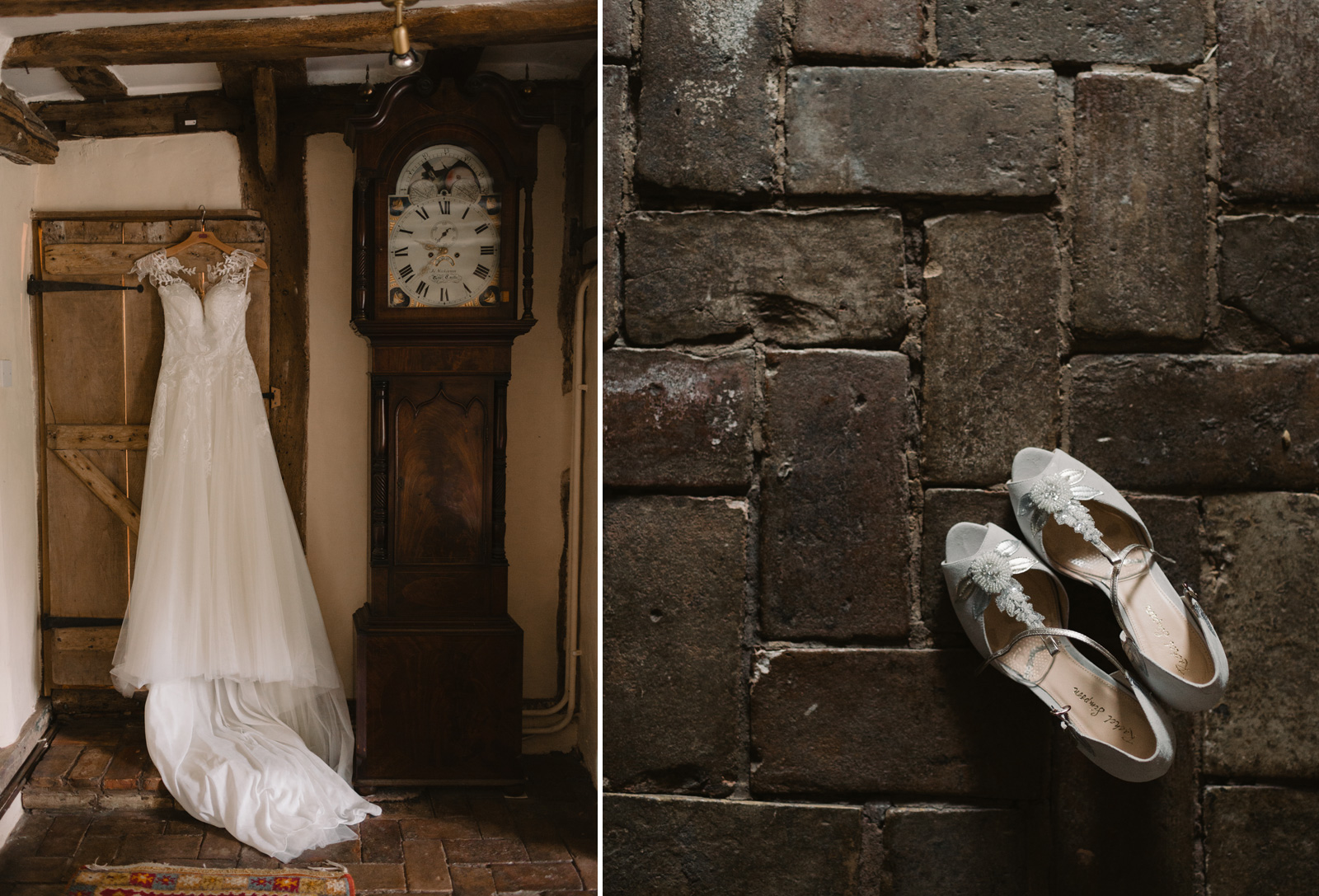 Dress with grandfather clock and shoes