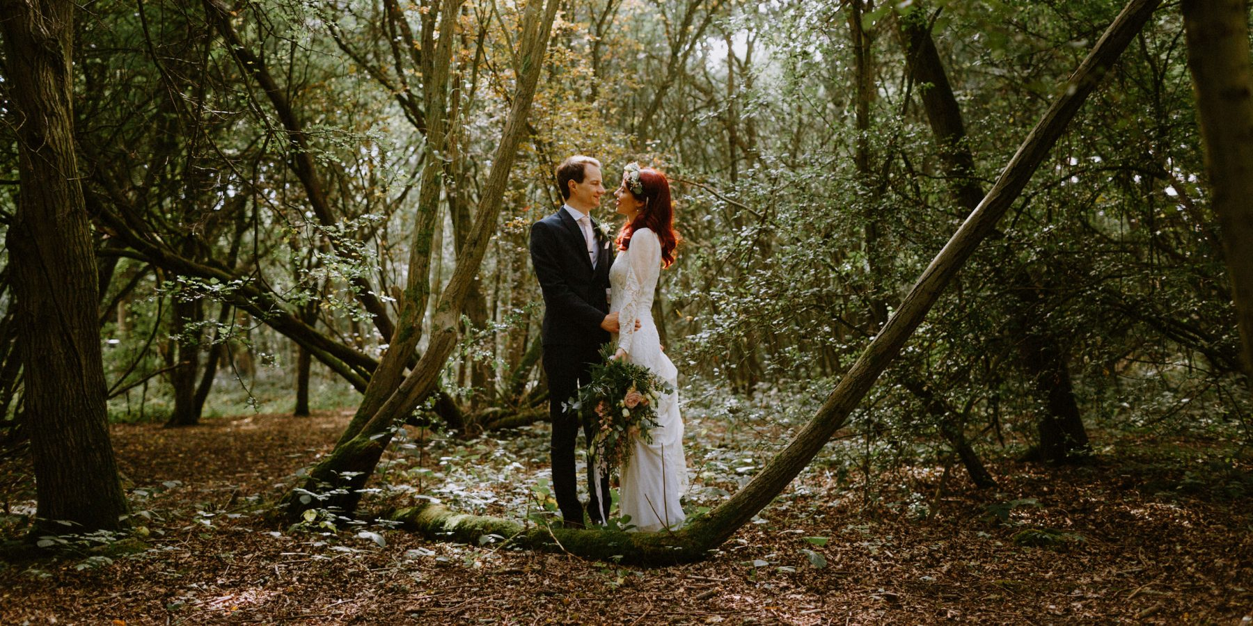 Essex Wedding Photographer Woodland wedding couple