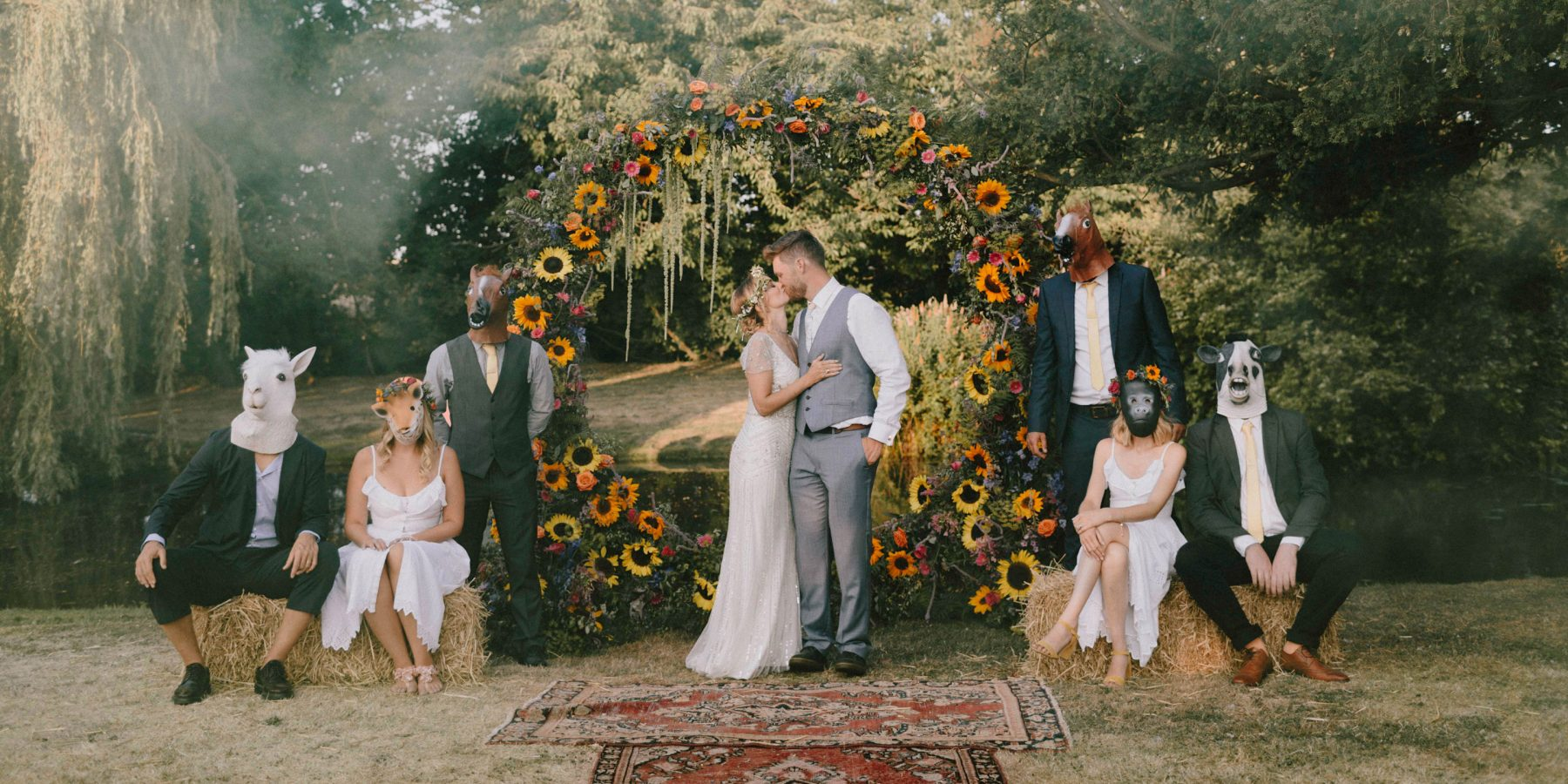 Boho wedding group with animal masks